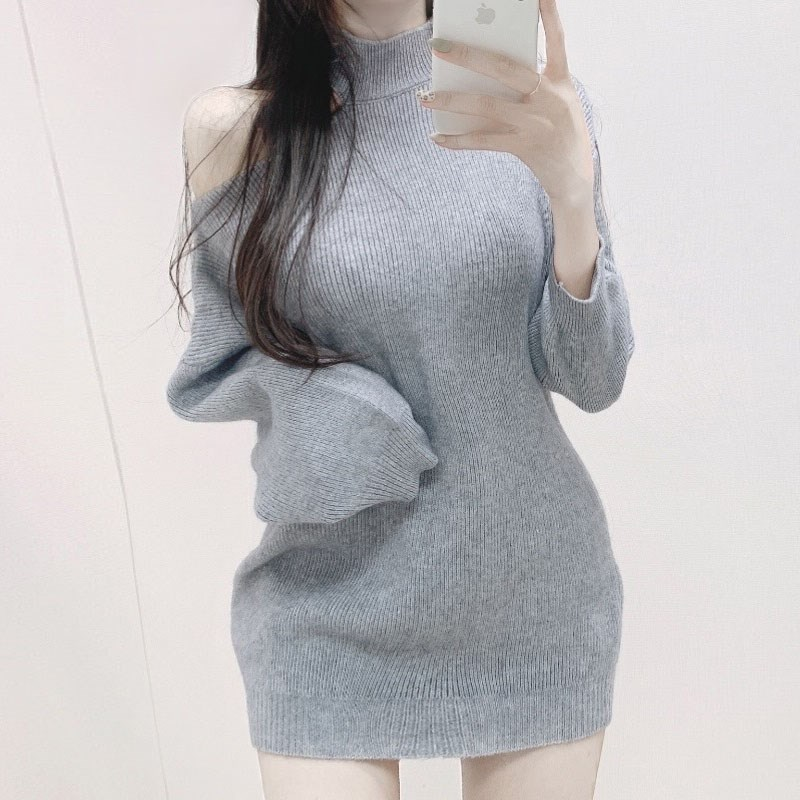 New sexy off shoulder half high collar Mini knit dress for autumn and winter