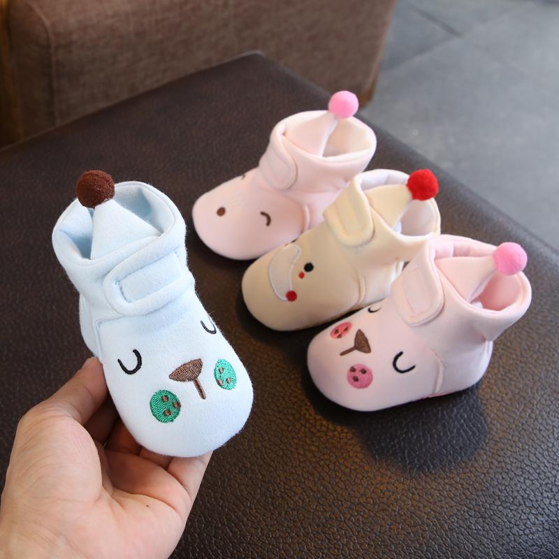 秋冬季布底婴儿鞋子加绒保暖学步鞋男女宝宝软底不掉鞋6-8-12个月