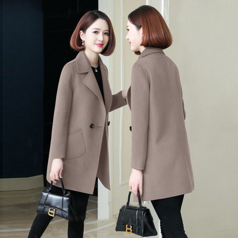2021 autumn and winter new wool tweed small medium and long overcoat slim temperament medium and long overcoat women