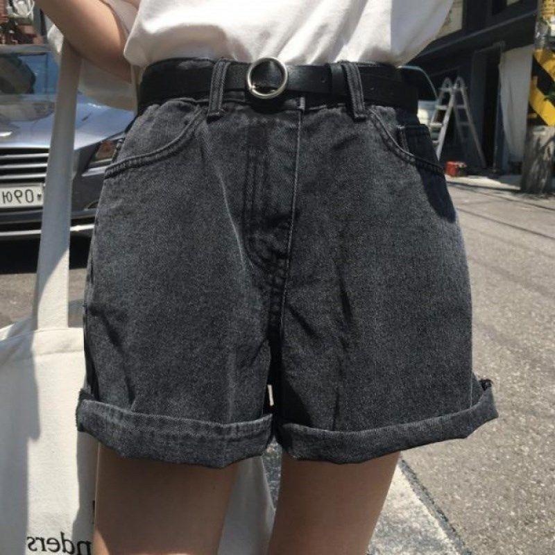 2019夏季新款百搭热子女版高腰显瘦腰带牛仔短配皮带阔腿