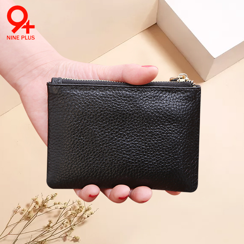 Pocket change womens card bag mans top leather zipper Leather Multi Card Coin small change purse large capacity cute