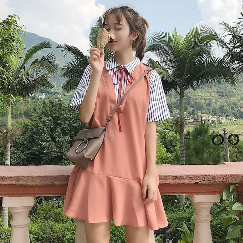 荷叶边新款甜美条纹女裙子学生韩版宽松百搭拼接春夏假两件连衣裙