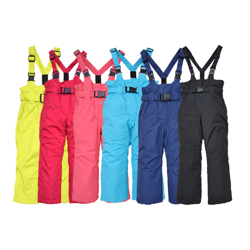 Экспорт оригинальный один ребенок зима брюки девочки геометрическом ветер утолщённый высокой талия катание на лыжах брюки нагрудник волна