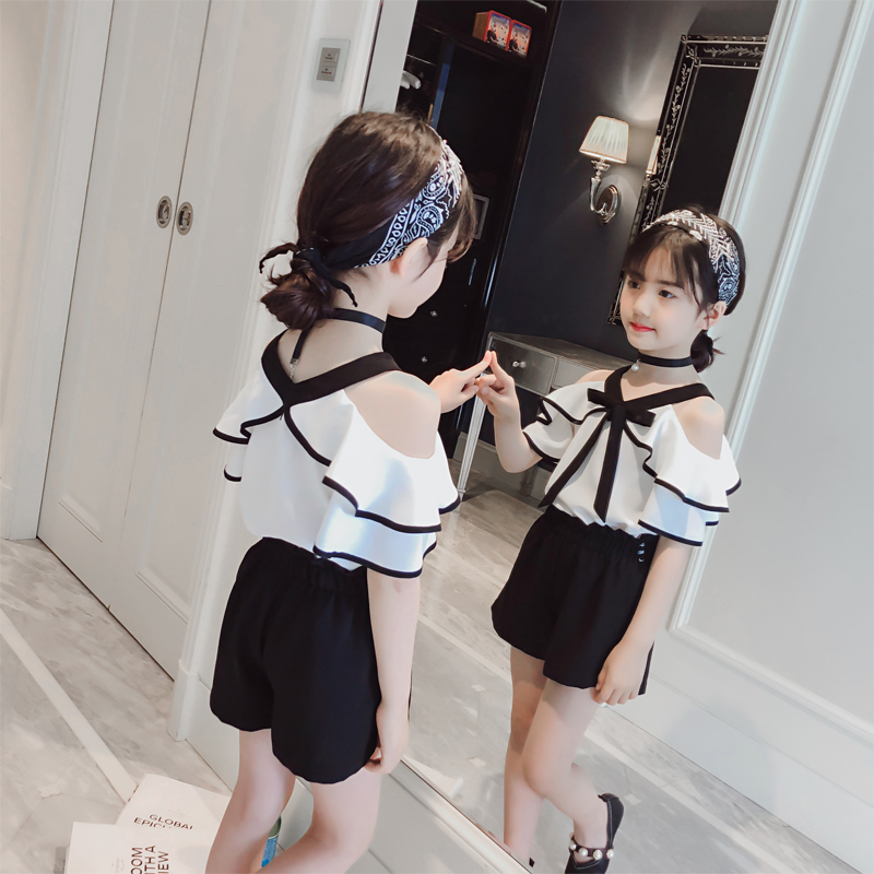 小香風女童裝2020新款吊帶兩件套時尚女夏季韓版兒童洋氣套裝時髦
