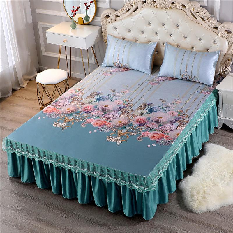 凉席冰丝席床裙款三件套1.8米床夏季折叠可机洗夏天席子1.5米2.0m