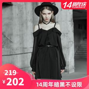 PUNK RAVE吊带裙女黑色高腰露肩长袖宽松潮性感小个子连衣裙短裙