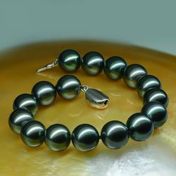 大溪地黑珍珠925银扣正圆简约手链