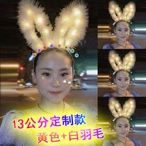 新款发光头饰夜市玩具羽毛兔耳朵发箍扫码发卡带灯发光玩具地摊批