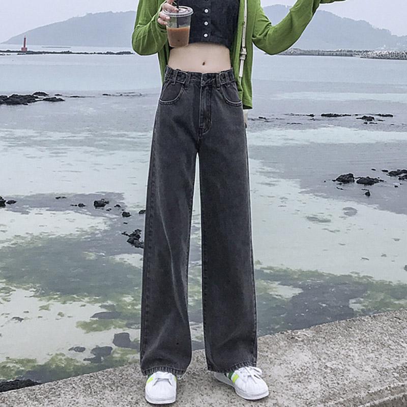 黑色女chic直筒拖地高腰宽松牛仔裤(非品牌)
