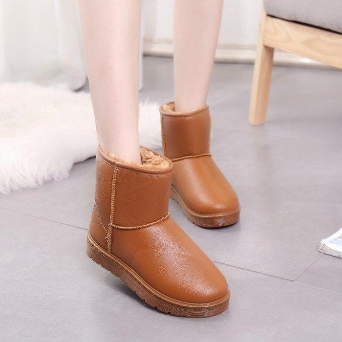 冬季棉鞋短筒雪地靴女款鞋加厚平底加绒防滑靴子学生防水皮面短靴