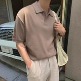 MRCYC夏季男士翻领短袖针织衫打底毛衣韩版潮流学生T恤个性线衣