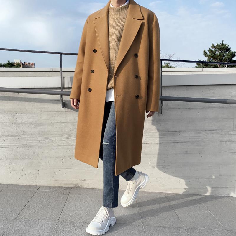 MRCYC男士冬季毛呢大衣韩版潮流保暖风衣外套学生日系呢子男装潮图片