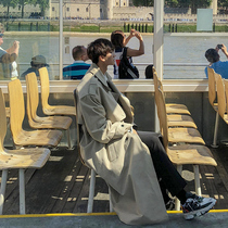 新款男士帅气风衣春秋季韩版潮流大衣外套男过膝风衣男中长款薄款