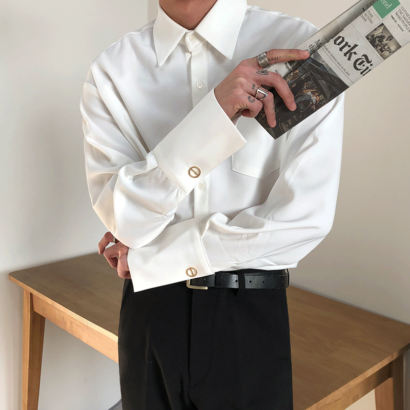 MRCYC男士秋季纯色衬衫新款长袖口潮流休闲衬衣韩版帅气宽松外套(用70元券)