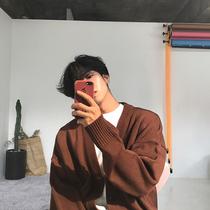 针织衫男宽松大毛衣V领单排扣纯色针织毛衣开衫外套男MRCYC