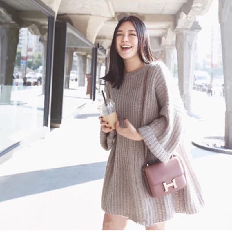 Autumn and winter new Korean Mohair thick knitted sweater bat sleeve womens Pullover medium length dress loose and lazy