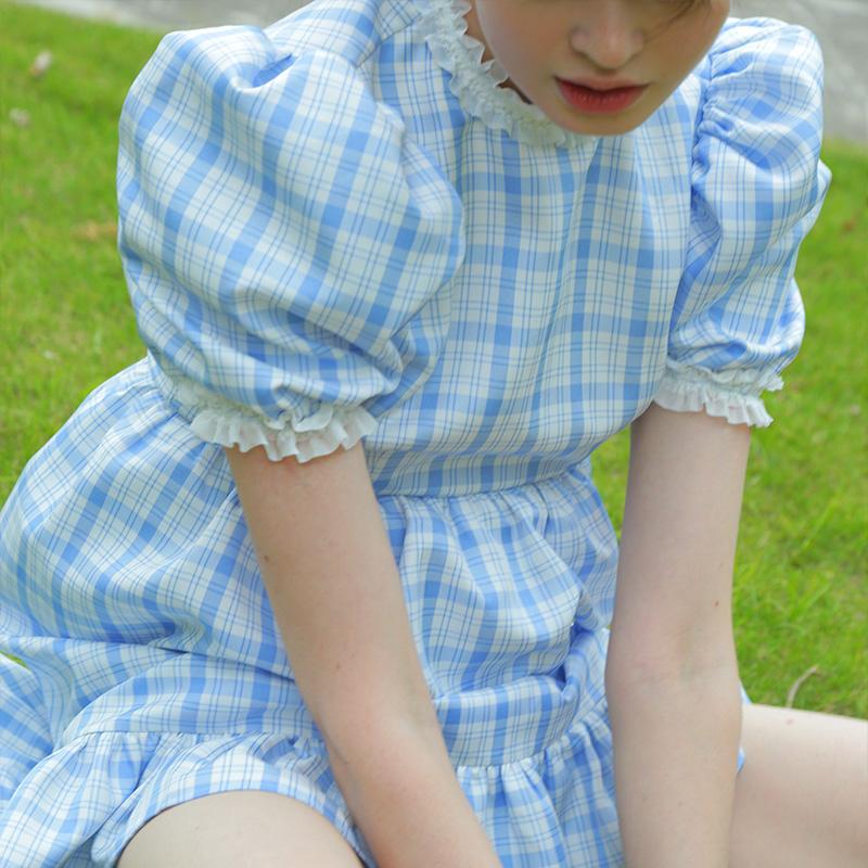 礼物商店少女连衣裙约会蓝格子高领泡泡袖娃娃裙小可爱送打底短裤