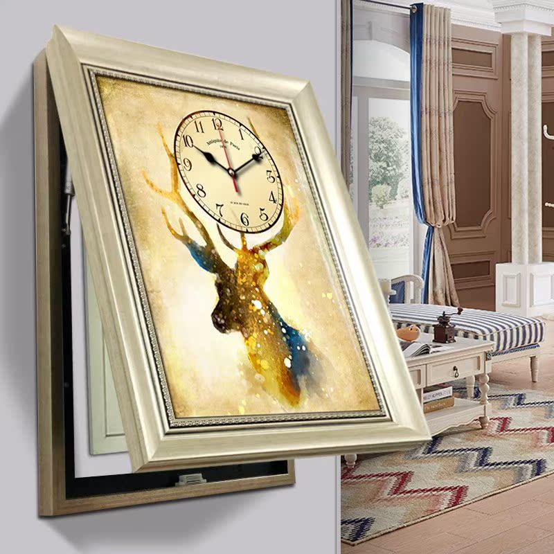 欧式电表箱竖款带钟表现代简约挂画(非品牌)