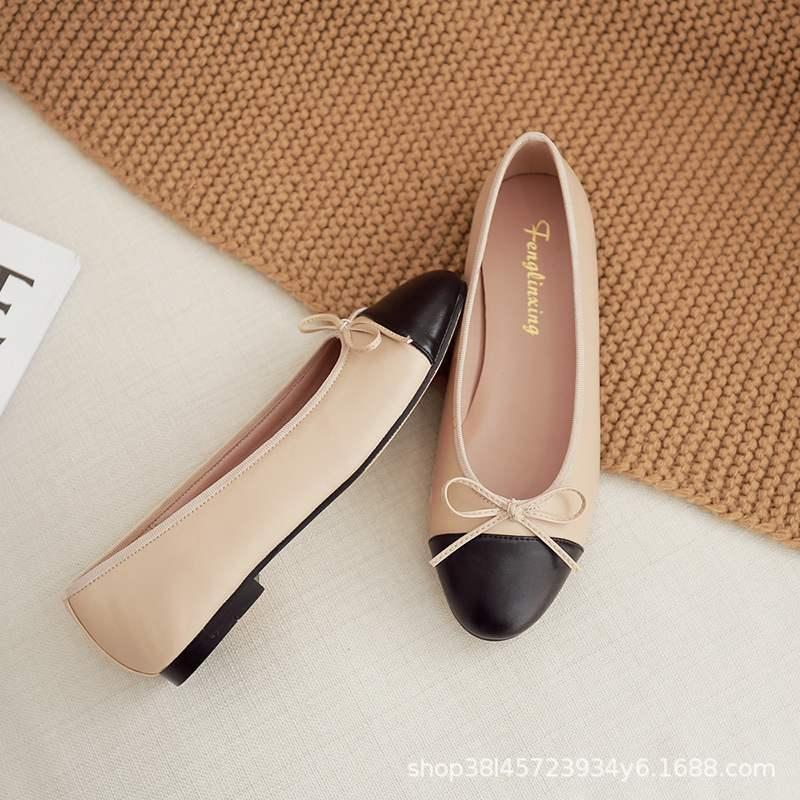 高档正品经典款春秋浅口拼色真皮结圆头单鞋平底芭蕾舞女平跟鞋橡