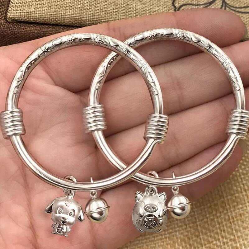 Genuine Zodiac pig mouse baby boy and girl Dragon Phoenix baby children 999 pure silver bracelet anklet full moon gift