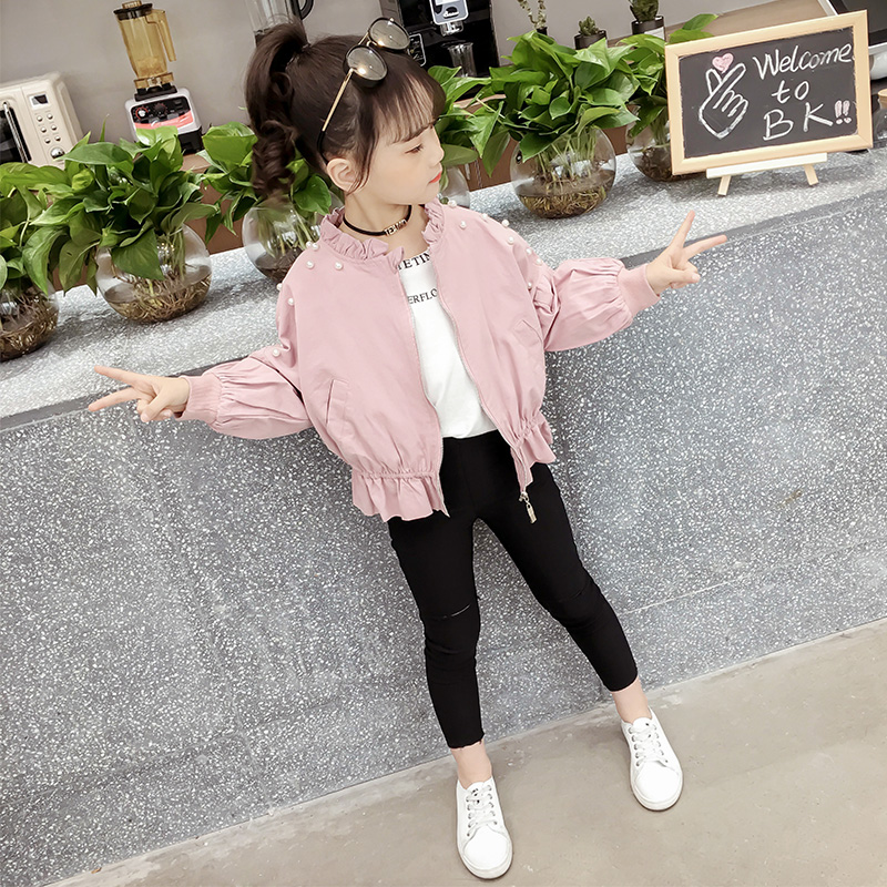 2021 new girls coat autumn childrens wear childrens Korean version foreign style spring and autumn jacket girls cardigan top