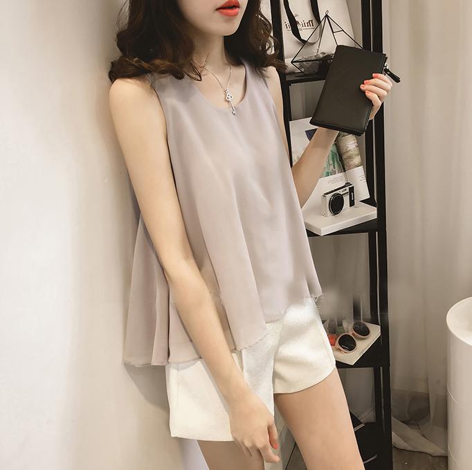 潮牌2021夏季新款韩版宽松遮肉纯色无袖背心女外穿显瘦雪纺上衣女