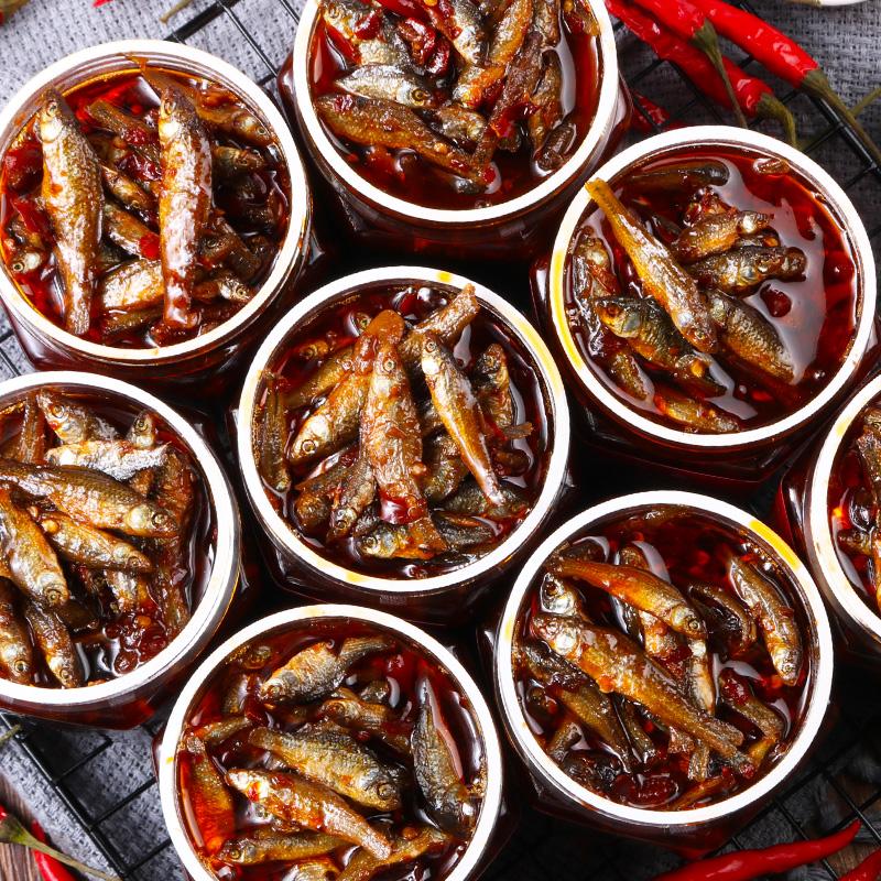 湖南香辣火焙鱼农家自制瓶装小鱼仔特产毛毛鱼零食下饭菜柴火鱼干