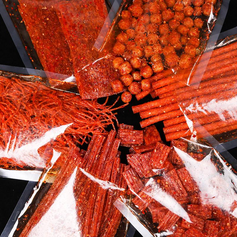 湖南特产麻辣味变态辣零食豆干儿时怀旧重庆网红同款小吃手工辣条图片
