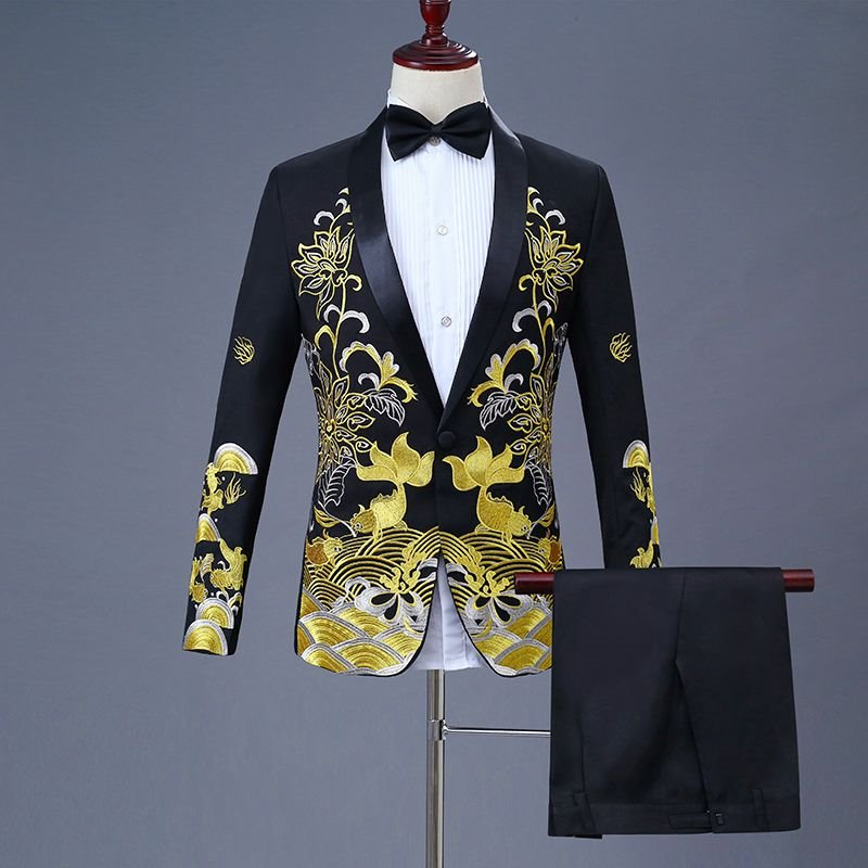 New Chinese mens dress: fish embroidery Chinese style suit every year