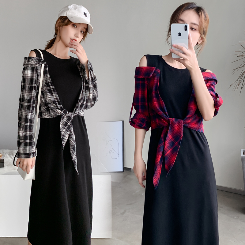 Scottish National fake two piece retro dress new spring / summer 2020 knitted Plaid off shoulder Stretch Skirt
