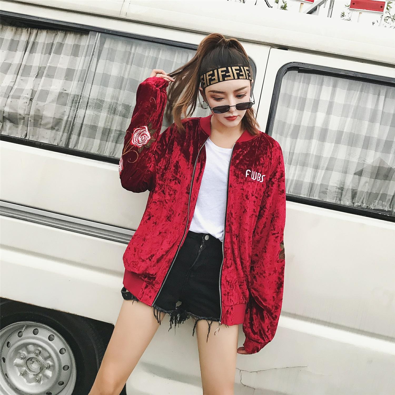 Velvet jacket embroidered cross Rose Diamond velvet satin jacket