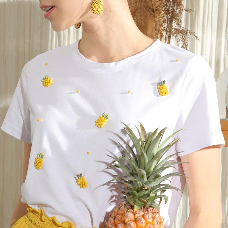Pineapple T-shirt short sleeve womens 2019 summer new top Korean loose strawberry pink print white T-shirt