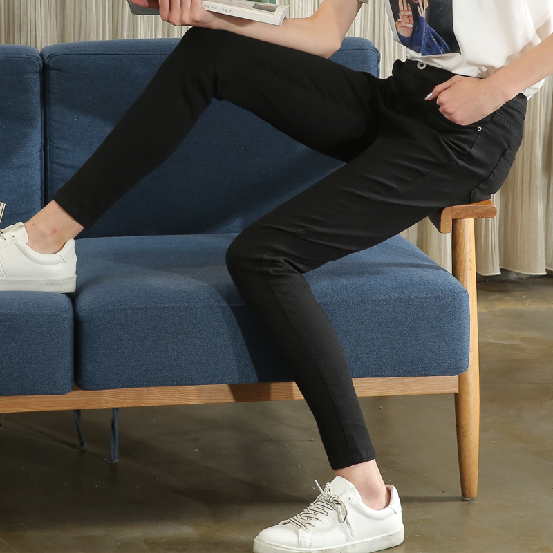 高弹力黑色牛仔裤女2019春季新款打底小脚裤外穿百搭铅笔薄款韩版
