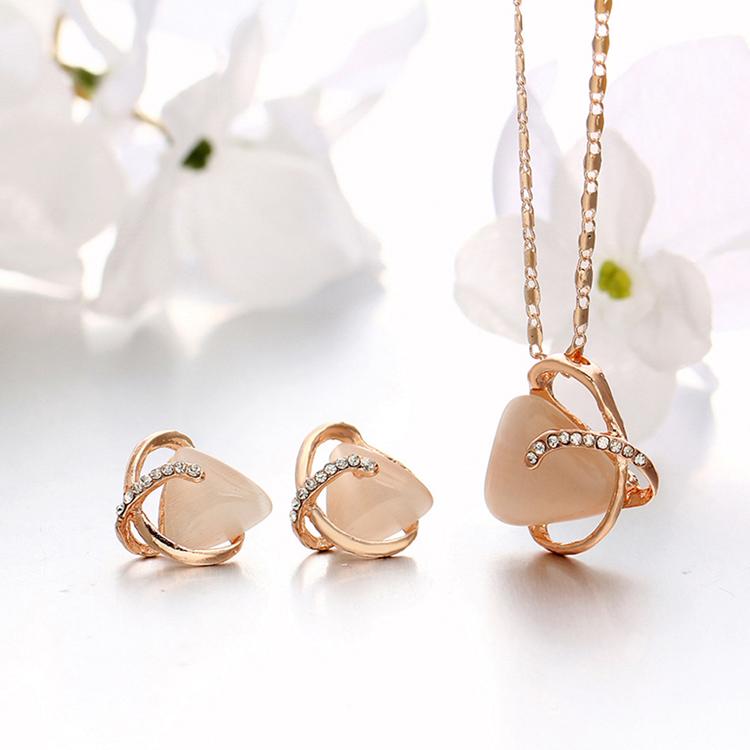 Opal Geometric Pendant Necklace Earrings Jewelry Sets