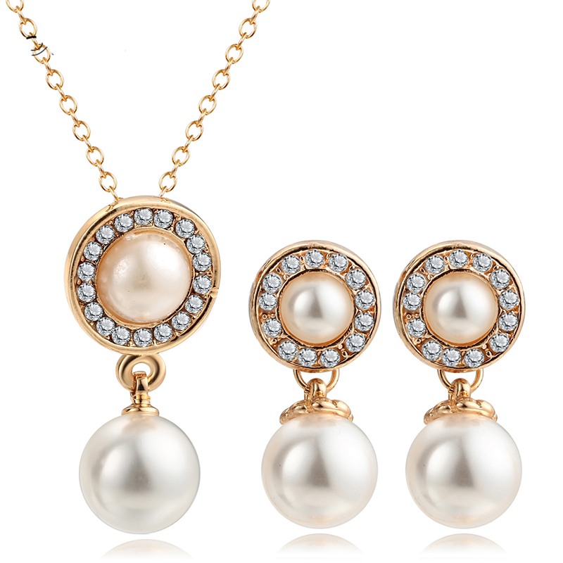 Wedding Jewelry Crystal Simulated Pearl Necklace Earring Set