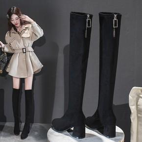 长靴女过膝粗跟高筒靴2020秋冬高跟长筒靴显瘦弹力靴中跟瘦腿女靴