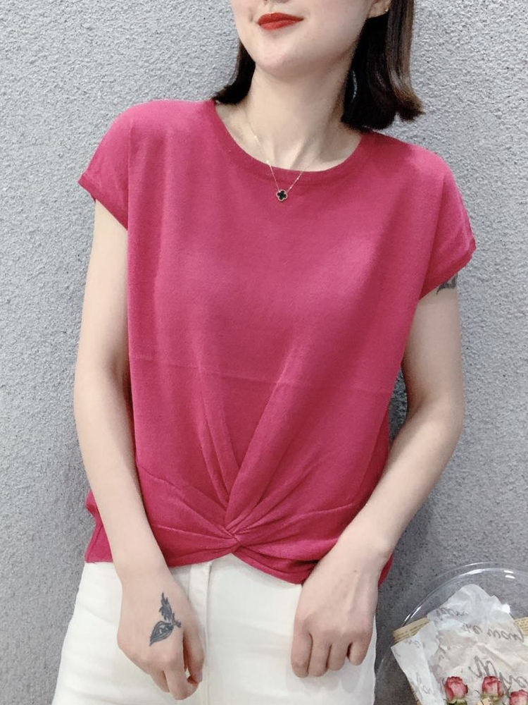 Linen short sleeve T-shirt womens short style new fashion slim top summer 2020 solid color T-shirt