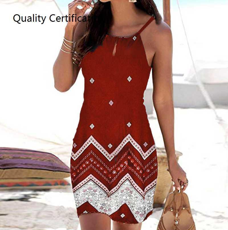 Slim-fit printing activity strapless sleeveless dress