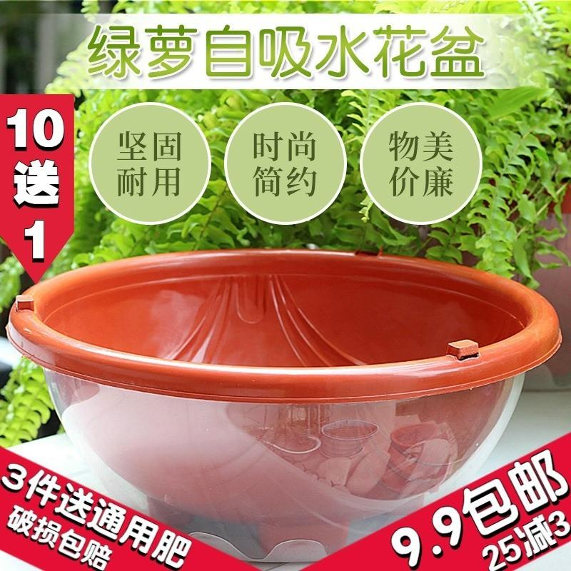 花盆大号塑料透明罩懒人自动吸水花盆绿萝专用储水双层