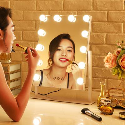 大号台式LED化妆镜带灯泡充电方形便携梳妆镜灯网红抖音补光镜