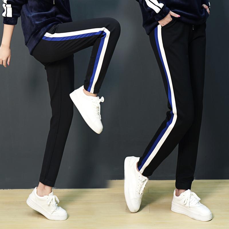 石头鱼加大码2018新款宽松显瘦铅笔休闲裤胖mm运动裤秋裤子女装