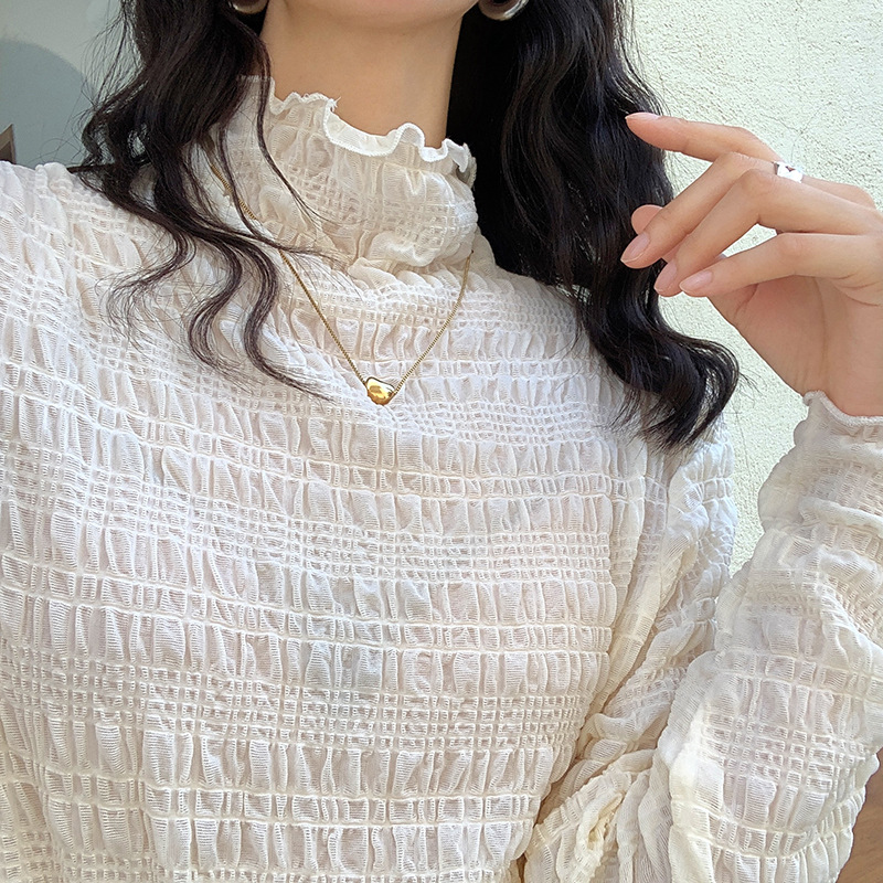 Lace high collar net bottom top womens spring and autumn new pleated texture top dx585