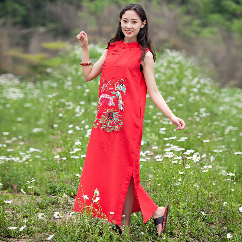 Zhipai dress spring and summer new cotton and hemp womens dress Retro Style Embroidered sleeveless summer dress