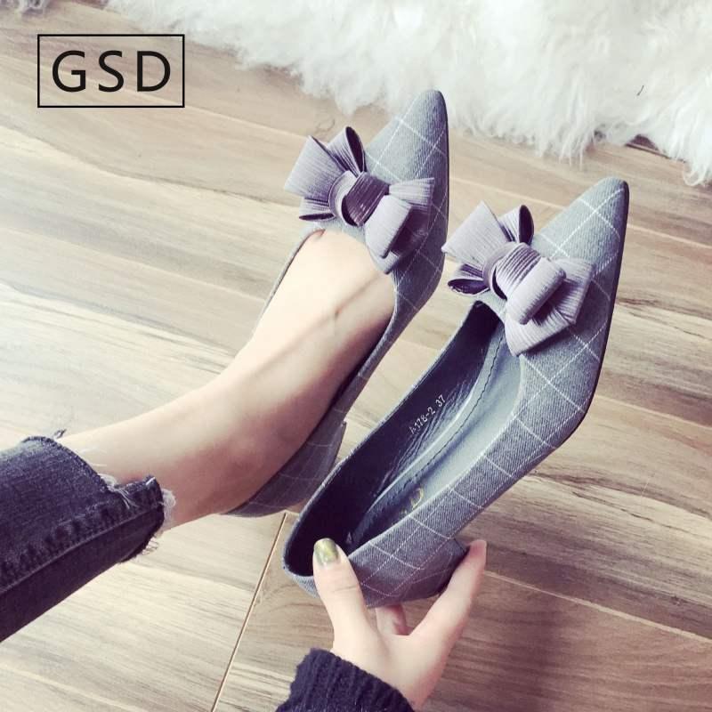 女鞋2019新款潮网红洋气时尚新品包邮单鞋女中粗跟休闲风