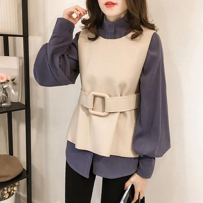 2019秋季新款时尚女装韩版宽松灯笼袖衬衫女毛呢马甲两件套918聚