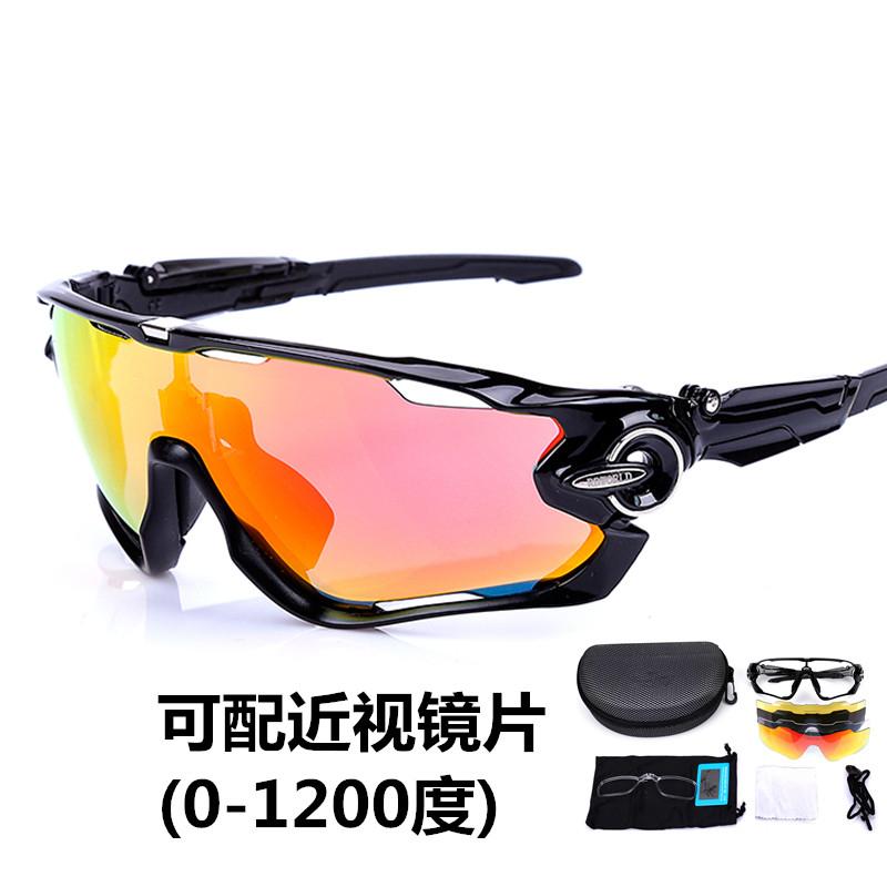 破风偏光骑行眼镜近视男女户外运动山地自行车防风太阳镜钓鱼夜视