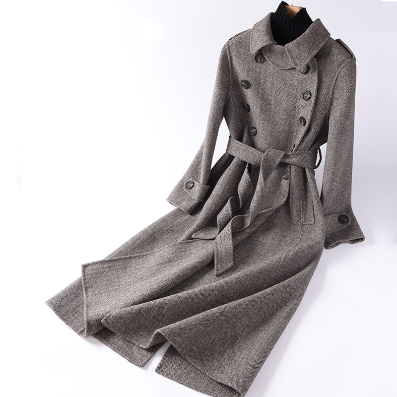 Princess Kates same double-sided cashmere coat womens off-season special mid long Korean loose high-end wool coat