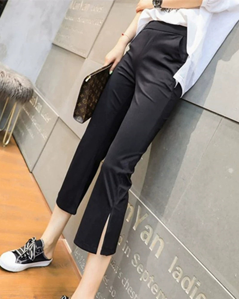 Quarter pants womens summer new thin 2020 side stripe split high waist micro trumpet slim sports casual pants