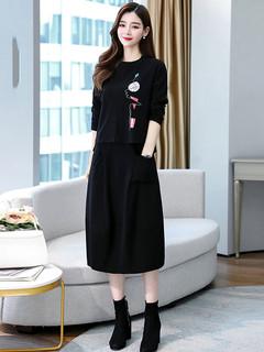 长袖连衣裙2020年秋季新款女装洋气休闲时尚套装裙气质初秋两件套
