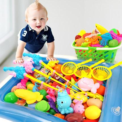 2-3-6岁儿童宝宝小孩钓鱼玩具磁性钓鱼竿钓鱼池套装戏水